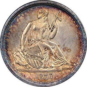 1837 SEATED 10C MS obverse