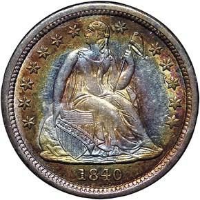 1840 DRAPERY 10C MS obverse