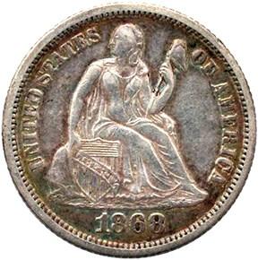 1868 10C MS obverse