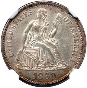 1869 10C MS obverse