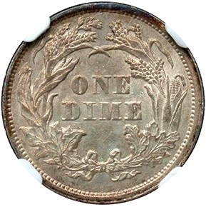 1869 10C MS reverse