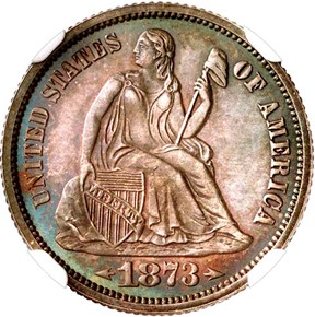 1873 ARROWS 10C PF obverse