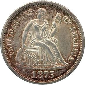 1875 CC BELOW BOW 10C MS obverse