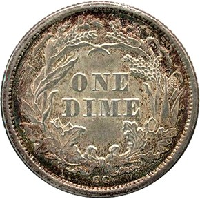 1875 CC BELOW BOW 10C MS reverse