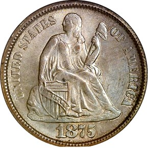 1875 S BELOW BOW 10C MS obverse