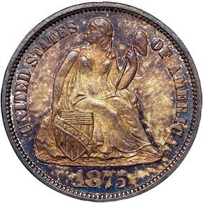 1875 10C MS obverse