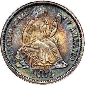1876 CC 10C MS obverse