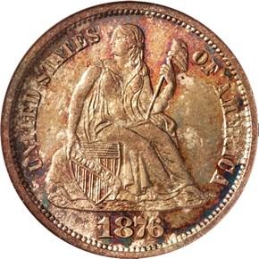 1876 S 10C MS obverse