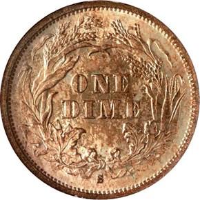 1876 S 10C MS reverse