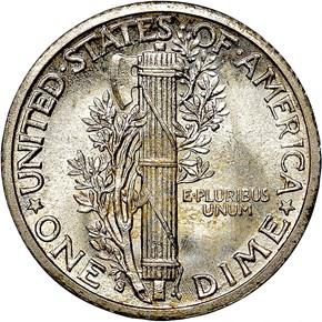 1916 S MERCURY 10C MS reverse