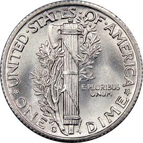 1941 S 10C MS reverse