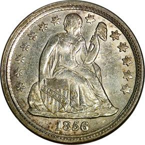 1856 SMALL DATE 10C MS obverse