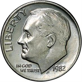 1982 NO P 10C MS obverse