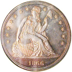 1866 NO MOTTO $1 PF obverse