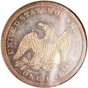 1866 NO MOTTO $1 PF reverse
