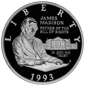 1993 S JAMES MADISON 50C PF obverse