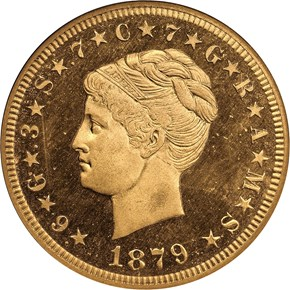 1879 COILED HAIR $4 PF obverse