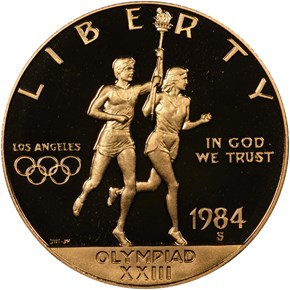 1984 S OLYMPICS $10 PF obverse