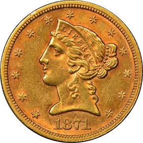 1871 S $5 MS obverse