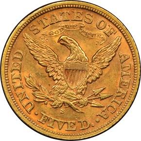 1871 S $5 MS reverse