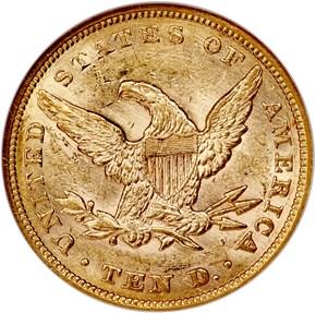1854 $10 MS reverse