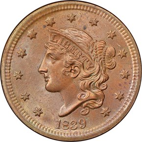 1839 SILLY HEAD 1C MS obverse