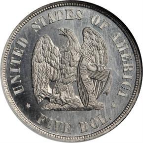 1872 J-1242 $5 PF reverse