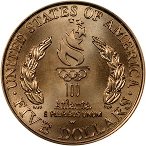 1996 W OLYMPICS FLAG BEARER $5 MS reverse