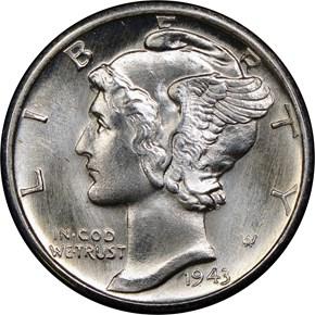 1943 D 10C MS obverse
