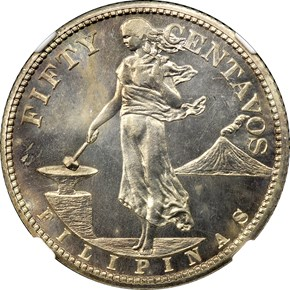 1908 USA-PHIL 50C PF obverse