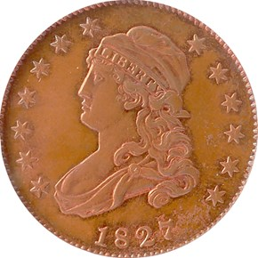 1827 J-48 SILVER PLATED 25C PF obverse