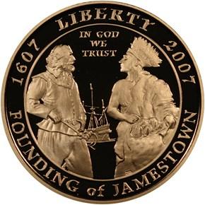 2007 W JAMESTOWN ANNIVERSARY $5 PF obverse