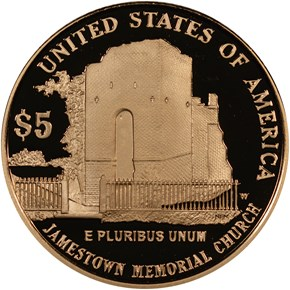 2007 W JAMESTOWN ANNIVERSARY $5 PF reverse
