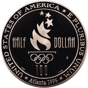 1996 S OLYMPICS - SOCCER 50C PF reverse