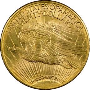 1915 S $20 MS reverse