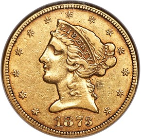 1873 CC $5 MS obverse