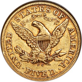 1873 CC $5 MS reverse