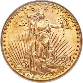 1931 D $20 MS obverse