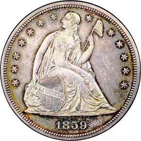 1859 $1 PF obverse