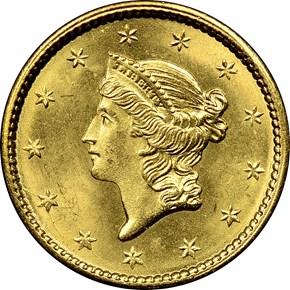 1851 G$1 MS obverse