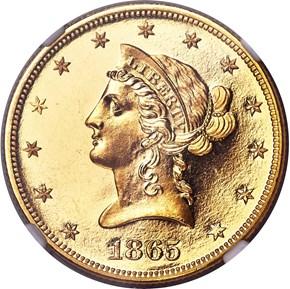 1865 $10 PF obverse