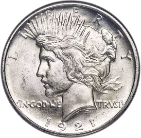 1921 PEACE HIGH RELIEF $1 MS obverse