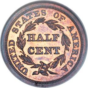 1857 1/2C PF reverse