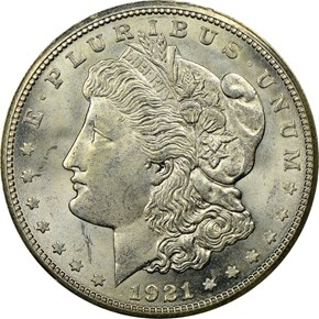 1921 S S$1 MS obverse