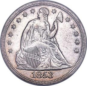 1853 $1 MS obverse
