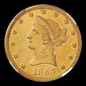 1853 O $10 SP obverse