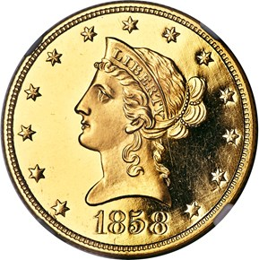 1858 $10 PF obverse