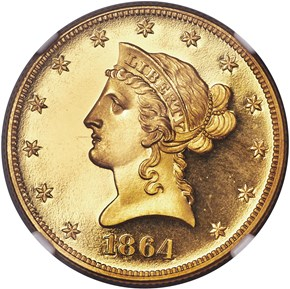 1864 $10 PF obverse