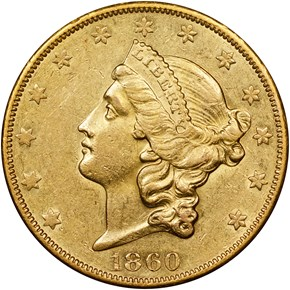 1860 O $20 MS obverse