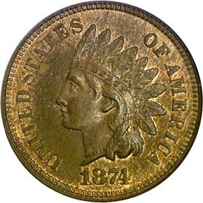 1874 1C MS obverse
